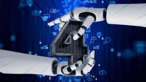 Mãos robóticas segurando o número 4