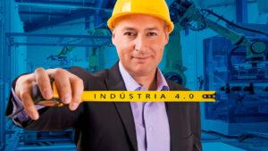Engenheiro segurando uma trena para medir a Indústria 4.0
